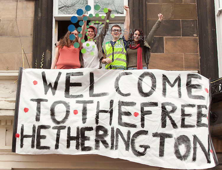 Students  re-occupy ,Hetherington Research Club, Glasgow University, after being evicted on 22/03/201, with more than 80 police officers involved.Picture/ Johnny Mclauchlan/Universalnews,23/03/2011
