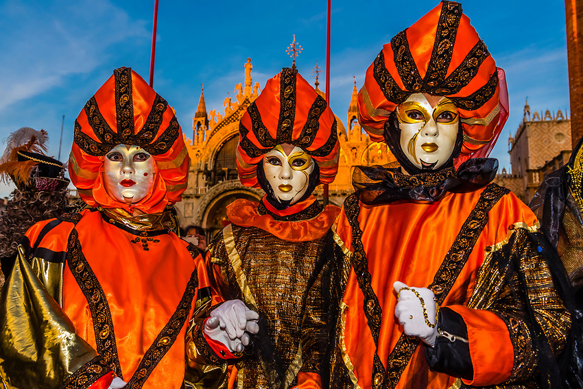 Revelers in carnival costume,  Piazza San Marco, Venice Carnival (Carnevale di Venezia), Venice, Italy