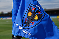 Corner flag ahead of  AFC Wimbledon vs Wycombe Wanderers, Sky Bet EFL League 1 Football at the Cherry Red Records Stadium on 31st August 2019