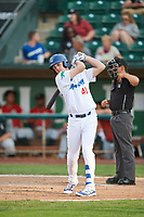 Jon Littell (48) of the Ogden Raptors bats against the Great Falls Voyagers at Lindquist Field on August 22, 2018 in Ogden, Utah. Great Falls defeated Ogden 3-1. (Stephen Smith/Four Seam Images)