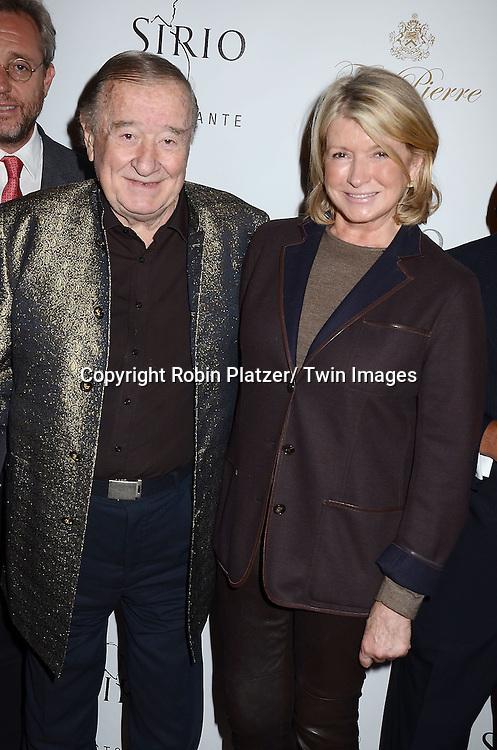 Sirio Maccioni and Martha Stewart attend the Sirio Ristorante New York opening in the Pierre Hotel, a TAJ Hotel on October 24, 2012 in New York City. Sirio Maccioni hosted the party