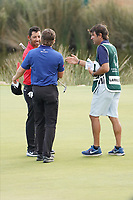 Eddie Pepperell (ENG) and Pablo Larrazabal (ESP) on the 18th during Round 4 of the Portugal Masters, Dom Pedro Victoria Golf Course, Vilamoura, Vilamoura, Portugal. 27/10/2019<br /> Picture Andy Crook / Golffile.ie<br /> <br /> All photo usage must carry mandatory copyright credit (© Golffile | Andy Crook)