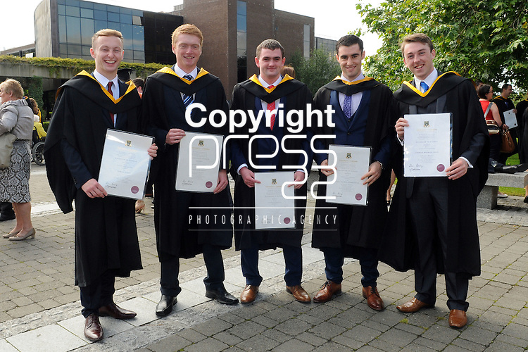 With Compliments,  26/8/2015  Attending the University of Limerick Conferrings were James Codd, Enniscorthy, Wexford, Denis Hennessy, Abbeyleix, Laois, Tadhg Butler, Cappamore, Paul Brennan, Ratheniska, Laois and Thomas Egan, Ballinfoyle, Galway, who were all conferred with a BSc. in Energy.<br /> Pic: Gareth Williams / Press 22