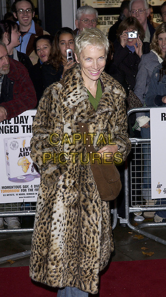 ANNIE LENNOX.Arrives at the DVD launch premiere screening of Live Aid, Odeon Kensington, London, November 8th 2004..half length leopard print coat.Ref: FIN.www.capitalpictures.com.sales@capitalpictures.com.©Steve Finn/Capital Pictures .