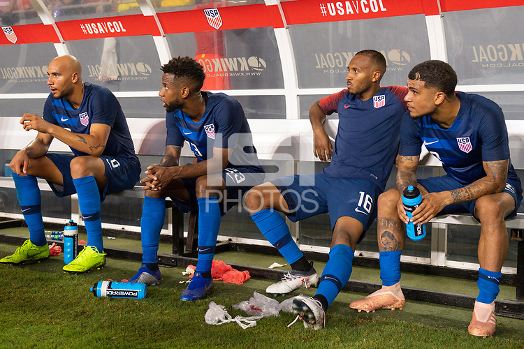 Tampa, FL - Thursday, October 11, 2018: John Brooks, Kellyn Acosta, Julian Green, DeAndre Yedlin during a USMNT match against Colombia.  Colombia defeated the USMNT 4-2.