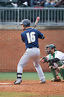 Brian Lees (16) of the Akron Zips at bat against the Charlotte 49ers at Hayes Stadium on February 22, 2015 in Charlotte, North Carolina.  The Zips defeated the 49ers 5-4.  (Brian Westerholt/Four Seam Images)