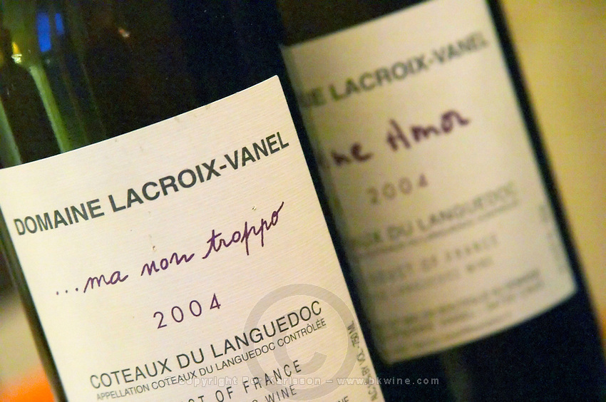 Cuvee Ma Non Troppo and Fine Amor. Domaine Lacroix-Vanel. Caux. Pezenas region. Languedoc. France. Europe. Bottle.