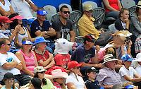 Tennis fans wear horse masks during the match between Juan Martin del Potro of Argentina and Radek Stepanek of Czech Republic at the Sydney International tennis tournament, Jan. 9, 2014.  Daniel Munoz/Viewpress IMAGE RESTRICTED TO EDITORIAL USE ONLY