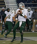 Colorado State quarterback Collin Hill (15) drops back against Nevada in the first half of an NCAA college football game in Reno, Nev., Saturday, Nov. 10, 2018. (AP Photo/Tom R. Smedes)