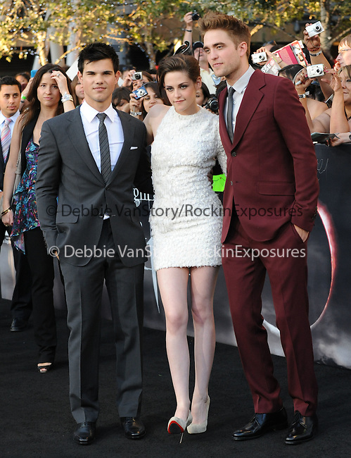 Taylor Lautner,Kristen Stewart & Robert Pattinson at the Summit Entertainment's Premiere of The Twilight Saga : Eclipse held at the Los Angeles Film Festival at Nokia Live in Los Angeles, California on June 24,2010                                                                               © 2010 Debbie VanStory / Hollywood Press Agency
