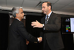 19 November 2010: Major League Soccer Commissioner Don Garber (left) and United States Soccer Federation President Sunil Gulati (center). The United States World Cup Bid Committee held a media luncheon at BMO Field in Toronto, Ontario, Canada as part of their preparations for MLS Cup 2010, Major League Soccer's championship game.