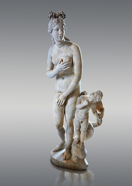 """Aphrodite (Venus to the Romans) """"Capitoline Type"""". 2nd centuryAD Roman statue in marble discovered at the Acqua Traversa near Rome.  The statue belong to a series of Roman replicas of a Greek original that reproduce a famous picture of goddess Aphrodite (Venus) and the best known copy is in the Capitoline Museums in Rome. The now lost, the Greek original dates from the 2nd century or 3rd BC and is known as the """"Aphrodite of Knidos"""" in which Aphrodite accompanied by a cupid is surprised while bathing.  Inv MR 369   (or Ma 335), The Louvre Mueum, Paris."""