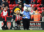 Captain Blades and the Millwall mascot during the championship match at the Bramall Lane Stadium, Sheffield. Picture date 14th April 2018. Picture credit should read: Simon Bellis/Sportimage