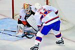 15 November 2008:  Philadelphia Flyers' goaltender Martin Biron makes a save against Montreal Canadiens' center and Team Captain Saku Koivu from Finland in the second period at the Bell Centre in Montreal, Quebec, Canada.  The Canadiens, celebrating their 100th season, fell to the visiting Flyers 2-1. ***Editorial Sales Only***..Mandatory Photo Credit: Ed Wolfstein Photo *** Editorial Sales through Icon Sports Media *** www.iconsportsmedia.com