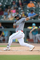 Left fielder Walter Rasquin (22) of the Columbia Fireflies, playing as the Chicharrones de Columbia, bats in a game against the Charleston RiverDogs on Friday, July 12, 2019 at Segra Park in Columbia, South Carolina. The RiverDogs won, 4-3, in 10 innings. (Tom Priddy/Four Seam Images)