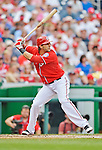 22 July 2012: Washington Nationals outfielder Michael Morse in action against the Atlanta Braves at Nationals Park in Washington, DC. The Nationals defeated the Braves 9-2 to split their 4-game weekend series. Mandatory Credit: Ed Wolfstein Photo