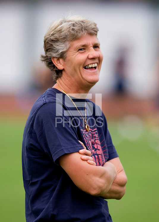 USWNT head coach Pia Sundhage laughs at the beginning of practice at Beijing Normal University for the upcoming semi-final game against Japan in the 2008 Beijing Olympics in Beijing, China.