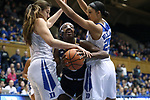 DURHAM, NC - FEBRUARY 04: Notre Dame's Jackie Young (center) is squeezed by Duke's Bego Faz Davalos (MEX) (left) and Jade Williams (25). The Duke University Blue Devils hosted the University of Notre Dame Fighting Irish on February 4, 2018 at Cameron Indoor Stadium in Durham, NC in a Division I women's college basketball game. Notre Dame won the game 72-54.