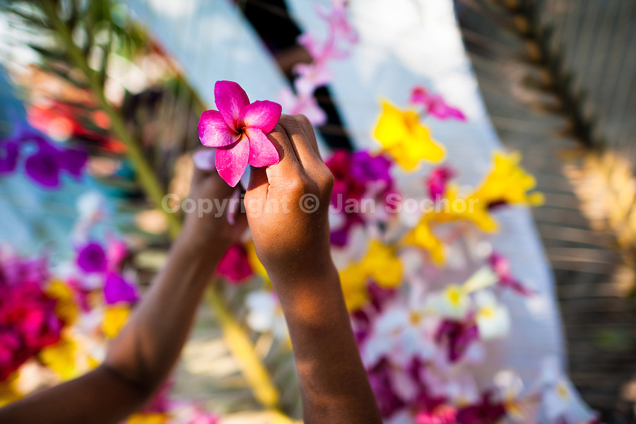 """A Salvadoran girl works on a floral ornament during the Flower & Palm Festival in Panchimalco, El Salvador, 8 May 2011. On the first Sunday of May, the small town of Panchimalco, lying close to San Salvador, celebrates its two patron saints with a spectacular festivity, known as """"Fiesta de las Flores y Palmas"""". The origin of this event comes from pre-Columbian Maya culture and used to commemorate the start of the rainy season. Women strip the palm branches and skewer flower blooms on them to create large colorful decoration. In the afternoon procession, lead by a male dance group performing a religious dance-drama inspired by the Spanish Reconquest, large altars adorned with flowers are slowly carried by women, dressed in typical costumes, through the steep streets of the town."""