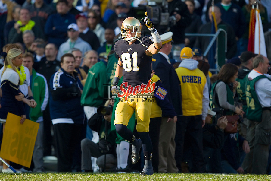 John Goodman (81) of the Notre Dame Fighting Irish takes the field on Senior Day prior to the game against the Wake Forest Demon Deacons at Notre Dame Stadium on November 17, 2012 in South Bend, Indiana.  The Fighting Irish defeated the Demon Deacons 38-0.  (Brian Westerholt/Sports On Film)