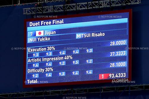Scoreboard, JULY 30, 2015 - Synchronised Swimming : 16th FINA World Championships Kazan 2015 Duets Free Routine Final at Kazan Arena in Kazan, Russia. (Photo by Yohei Osada/AFLO SPORT)
