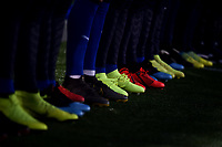 Shoes of italian players are seen during the national anthem prior to the international friendly match between Italy U21 and Croatia U21 at stadio Benito Stirpe, Frosinone, March 25, 2019 <br /> Photo Andrea Staccioli / Insidefoto
