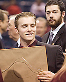 Chris Collins (Brian Elliott) - Hobey Hat Trick Ceremony - Awarding of the Hobey Baker trophy on Friday, April 7, 2006, on the ice at the Bradley Center in Milwaukee, Wisconsin.