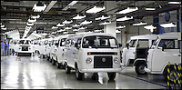 BNPS.co.uk (01202 558833)<br /> Pic: Danbury/BNPS<br /> <br /> ****Please use full byline****<br /> <br /> VW T2 factory.<br /> <br /> The last ever delivery of brand new Volkswagen campervans has arrived in Britain marking the end of an era for the iconic 'hippy bus'.<br /> <br /> Ninety nine of the final batch of vans rolled off the production line and onto a container ship bound for British shores after manufacture ceased for good in Brazil in December.<br /> <br /> And though the consignment has only just arrived, almost all of the vans have already been snapped up by eager buyers happy to fork out the &pound;35,000 starting price.<br /> <br /> They are the last brand new campers in all of Europe.