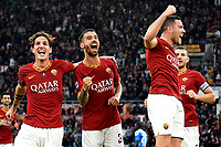 Jordan Veretout of AS Roma (R) celebrates with team mates Nicolo Zaniolo and Leonardo Spinazzola of AS Roma after scoring the goal of 2-0 for his side <br /> Roma 2-11-2019 Stadio Olimpico <br /> Football Serie A 2019/2020 <br /> AS Roma - SSC Napoli <br /> Foto Andrea Staccioli / Insidefoto