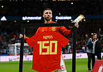 Sergio Ramos of Spain poses for fotos with his commemorative shirt for 150 matches during the International Friendly 2018 match between Spain and Argentina at Wanda Metropolitano Stadium on 27 March 2018 in Madrid, Spain. Photo by Diego Souto / Power Sport Images