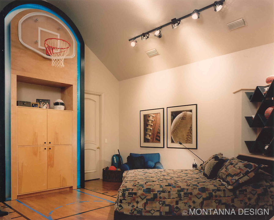 This Lucky Young Manu0027s Bedroom Sports A Teal Basketball Court Done Up In  His Favorite Teams