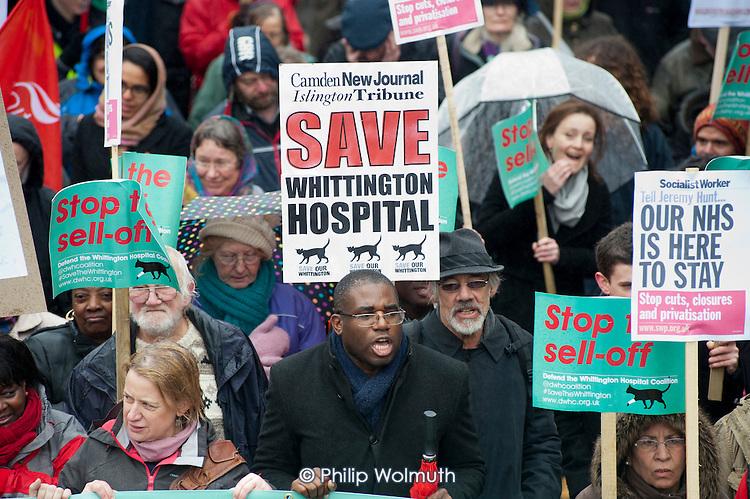 Labour MP David Lammy. Save Whittington Hospital Campaign march and rally, Islington, London.