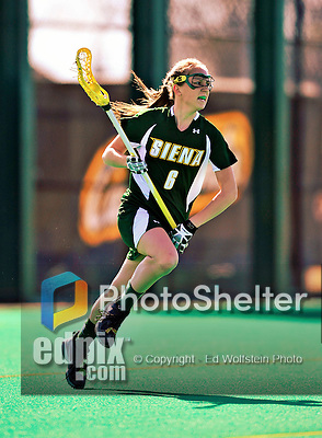 17 March 2010: Siena Saints' midlieder Kristin McMillan, a Sophomore from Massapequa, NY, in action against the University of Vermont Catamounts at Moulton Winder Field in Burlington, Vermont. The Lady Cats fell to the visiting Saints 14-11. Mandatory Photo Credit: Ed Wolfstein Photo