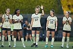 Oliwia Wos (13) of the Wake Forest Demon Deacons waves to the crowd during player introductions prior to the start of the match against the Tennessee Volunteers at W. Dennie Spry Stadium on the campus of Wake Forest University on August 23, 2018 in Winston-Salem, North Carolina.  The Demon Deacons and the Volunteers played to a 1-1 draw.