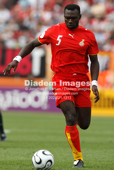 NUREMBERG, GERMANY - JUNE 22:  John Mensah of Ghana in action during a 2006 FIFA World Cup soccer match against the United States June 22, 2006 in Nuremberg, Germany.  (Photograph by Jonathan P. Larsen)