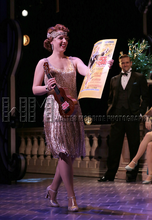 Jessie Mueller during the Curtain Call for 'Nice Work If You Can Get It'  as the company welcomes Jessie Mueller,  John Treacy Eagan & Conrad John Schuck to the cast at the Imperial Theatre in New York City on 3/29/2013