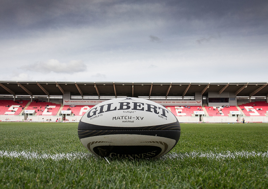 A general view of Parc Y Scarlets, home of Scarlets a view of the match ball<br /> <br /> Photographer Simon King/CameraSport<br /> <br /> Guinness Pro14 Round 1 - Scarlets v Southern Kings - Saturday 2nd September 2017 - Parc y Scarlets - Llanelli, Wales<br /> <br /> World Copyright &copy; 2017 CameraSport. All rights reserved. 43 Linden Ave. Countesthorpe. Leicester. England. LE8 5PG - Tel: +44 (0) 116 277 4147 - admin@camerasport.com - www.camerasport.com