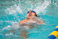 BERKELEY, CA - Feb. 18, 2017: Cal's Jack Xie swims in the Men 200 Yard Backstroke.  Cal Men's Swimming and Diving competed against Stanford at Spieker Aquatics Complex.