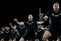 NEW PLYMOUTH, NEW ZEALAND - SEPTEMBER 09:  Nehe Milner-Skudder of the All Blacks performs the haka during The Rugby Championship match between the New Zealand All Blacks and Argentina at Yarrow Stadium on September 9, 2017 in New Plymouth, New Zealand.  Photo by Phil Walter / POOL