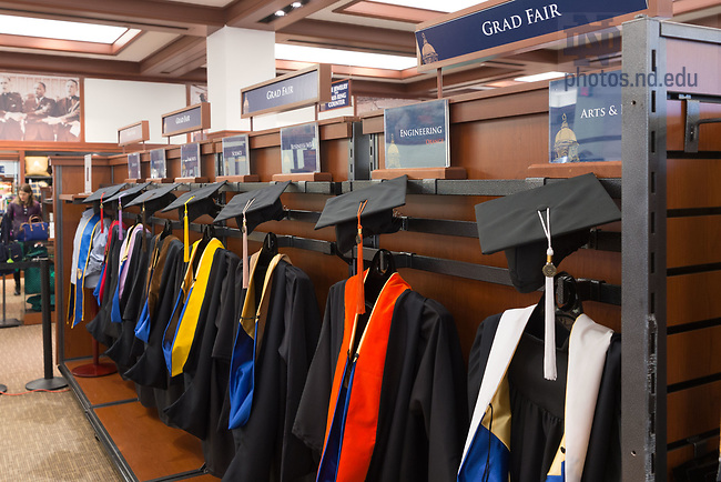 March 22, 2017; Grad Fair for purchasing cap and gown, class rings and paraphernalia for graduation (Photo by Matt Cashore/University of Notre Dame)