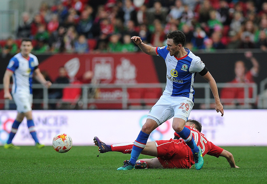 Blackburn Rovers' Corry Evans is tackled by Bristol City's Luke Freeman<br /> <br /> Photographer Ashley Crowden/CameraSport<br /> <br /> The EFL Sky Bet Championship - Bristol City v Blackburn Rovers - Saturday 22nd October 2016 - Ashton Gate - Bristol<br /> <br /> World Copyright &copy; 2016 CameraSport. All rights reserved. 43 Linden Ave. Countesthorpe. Leicester. England. LE8 5PG - Tel: +44 (0) 116 277 4147 - admin@camerasport.com - www.camerasport.com