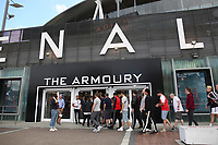 Arsenal fans queue to pick up the new home shirt during the Arsenal FC 2019-20 Adidas Home Kit Launch at the Armoury Shop, Emirates Stadium on 1st July 2019
