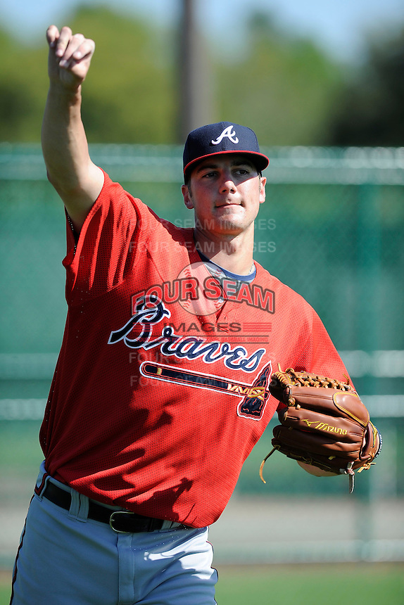 Pitcher Chad Sobotka (84) of the Atlanta Braves farm system in a Minor League Spring Training workout on Monday, March 16, 2015, at the ESPN Wide World of Sports Complex in Lake Buena Vista, Florida. (Tom Priddy/Four Seam Images)
