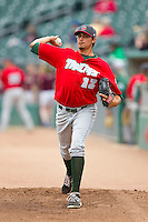 Fort Wayne TinCaps starting pitcher Zach Eflin (12) warms up in the bullpen prior to the game against the Lansing Lugnuts at Cooley Law School Stadium on June 5, 2013 in Lansing, Michigan.  The TinCaps defeated the Lugnuts 8-5.  (Brian Westerholt/Four Seam Images)