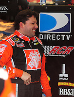 Apr 25, 2008; Talladega, AL, USA; NASCAR Sprint Cup Series driver Tony Stewart during practice for the Aarons 499 at Talladega Superspeedway. Mandatory Credit: Mark J. Rebilas-US PRESSWIRE