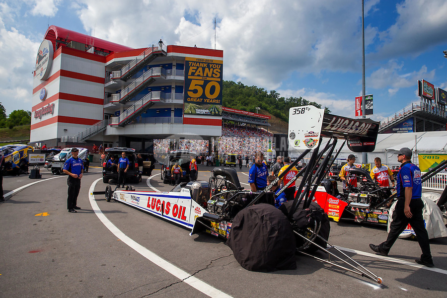 Jun 21, 2015; Bristol, TN, USA; NHRA top fuel driver Richie Crampton during the Thunder Valley Nationals at Bristol Dragway. Mandatory Credit: Mark J. Rebilas-