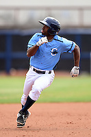 Charlotte Stone Crabs outfielder Andrew Toles (1) runs the bases during a game against the Fort Myers Miracle on April 16, 2014 at Charlotte Sports Park in Port Charlotte, Florida.  Fort Myers defeated Charlotte 6-5.  (Mike Janes/Four Seam Images)