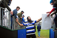 Kane Palma-Newport of Bath Rugby mingles with the crowd after the match. Aviva Premiership match, between Bath Rugby and Saracens on December 3, 2016 at the Recreation Ground in Bath, England. Photo by: Patrick Khachfe / Onside Images