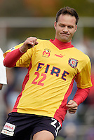 2004 Hall of Fame inductee Eric Wynalda is upset that he missed a scoring opportunity late in the game. Wynalda came out of retirement for one day to play for his old team in this exhibition game. The MetroStars defeated the Chicago Fire 2-0 during the inaugural Hall of Fame game on Monday October 11, 2004 at At-A-Glance Field at the National Soccer Hall of Fame and Museum, Oneonta, NY..
