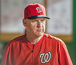 22 August 2015: Washington Nationals Manager Matt Williams walks the dugout during a game against the Milwaukee Brewers at Nationals Park in Washington, DC. The Nationals defeated the Brewers 6-1 in the second game of their 3-game weekend series. Mandatory Credit: Ed Wolfstein Photo *** RAW (NEF) Image File Available ***